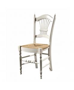 Chaise classique style maison de campagne, chaise rustique, chaise assise en paille, chaise blanche pour cuisine