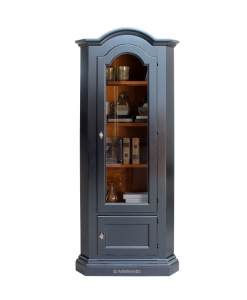 Meuble vitrine d'angle noir, vitrine noire, meuble vitrine laquée noir