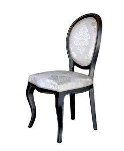 Chaise classique de type médaillon, chaise médaillon, chaise noire, chaise salon, chaise visiteur