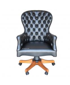 Fauteuil de direction cuir et bois, chaise pour cabinet, fauteuil de bureau