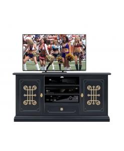 Meuble TV 130 cm noir et or, meuble télé, meuble télé noir, meuble TV noir et or, meuble tv classique en bois noir