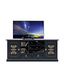 Meuble tv 160 cm largeur en bois noir et or