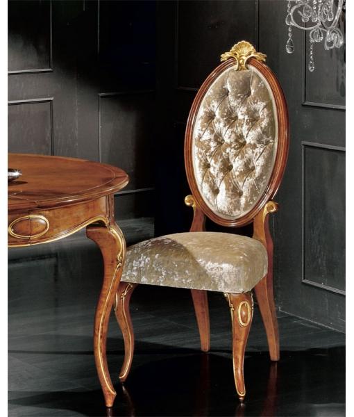 Chaise élégante dossier ovale capitonné