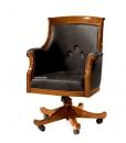 Fauteuil tournant de bureau, fauteuil cabinet en vrai cuir, fauteuil classique bois et cuir, fauteuil tournat de bureau
