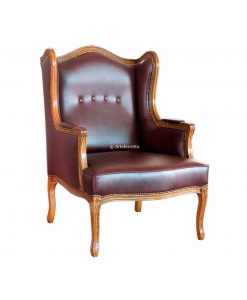 Fauteuil bergère à oreilles en vrai cuir, fauteuil bergère, fauteuil à oreilles, fauteuils classique bois et vrai cuir