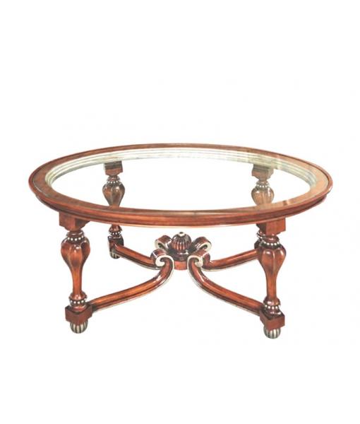 Table de salon vitrée, table basse de salon style classique, table basse de salon sculptée sur bois