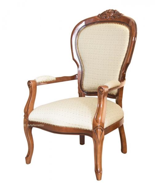 Fauteuil classique en bois style Louis Philippe  réf. FL-B02