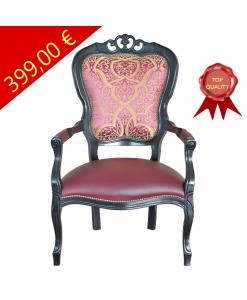 PROMO ! Fauteuil classique, fauteuil avec accoudoirs, fauteuil style classique noir, fauteuil noir