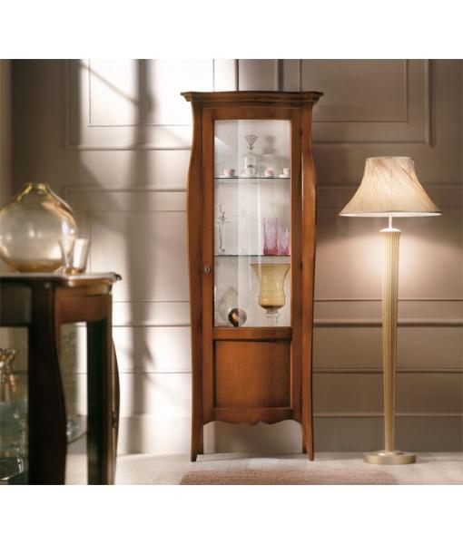 vitrine classique en bois 1 porte, meuble classique vitrine pour salon