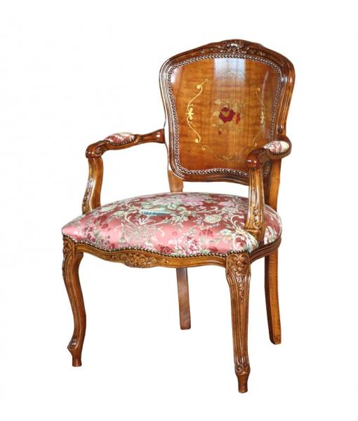 Fauteuil rembourré et marqueté, fauteuil de salon, fauteil classique, fauteuil bois et tissu