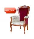 fauteuil, fauteuil classique, fauteuil en bois, fauteuil bois et tissu
