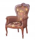 fauteuil bois et tissu, fauteuil tissu floral, fauteuil classique pour salon