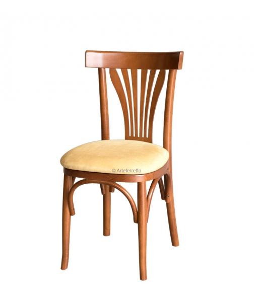 Chaise en bois avec assise rembourrée réf. FR-66E