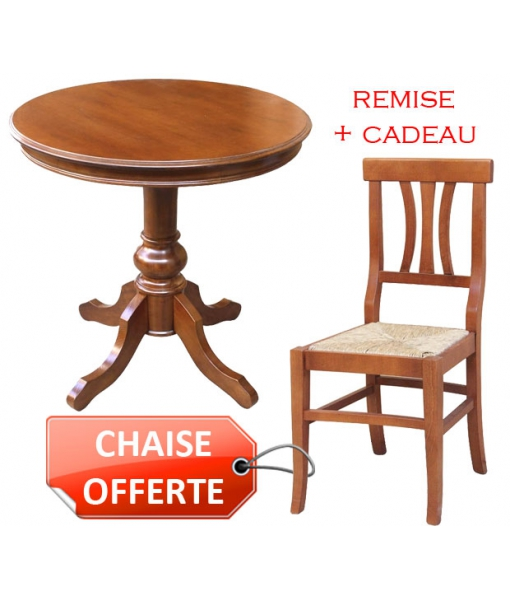 Combo table Ø80 cm + chaise offerte