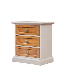 table de chevet, chevet 3 tiroirs, chevet bicolore, table de nuit bicolore