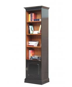 Bibliothèque bicolore petite largeur, bibliothèque haute, bibliothèque étroite, meuble bibliothèque classique en bois
