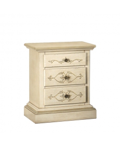 Table de chevet 3 tiroirs pour chambre, chevet, table de chevet classique en bois massif