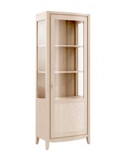Vitrine 1 porte en bois de tilleul, vitrine en bois, meuble vitrine haute, vitrine style contemporain