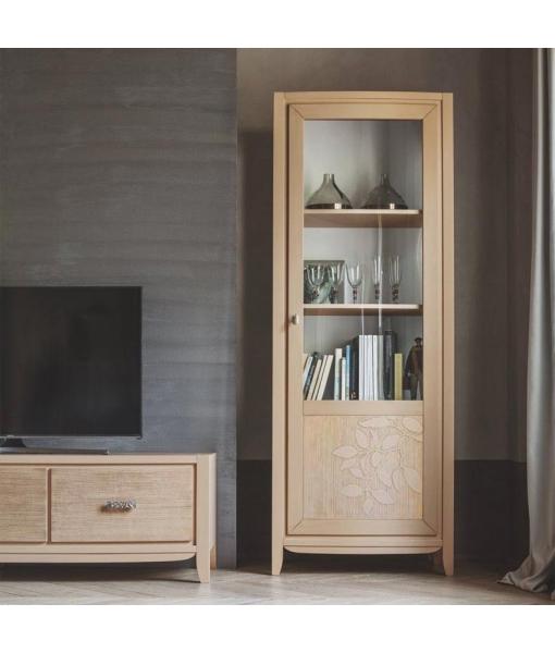 Vitrine 1 porte en bois de tilleul, vitrine, meuble vitrine, vitrine en bois, vitrine contemporaine