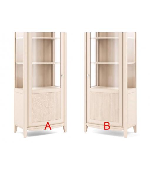 Vitrine 1 porte en bois de tilleul réf. V08-T - Version pour ouverture de la porte