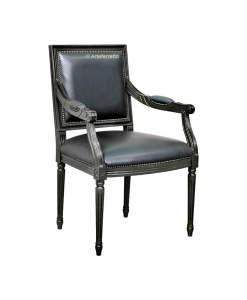 Fauteuil noir style empire, fauteuil noir, fauteuil classique noir