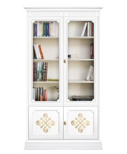meuble bibliothèque, vitrine haute, vitrine bois blanc, bibliothèque classique blanche, meuble rangement salon, bibliothpque pour salon, vitrine pour salon
