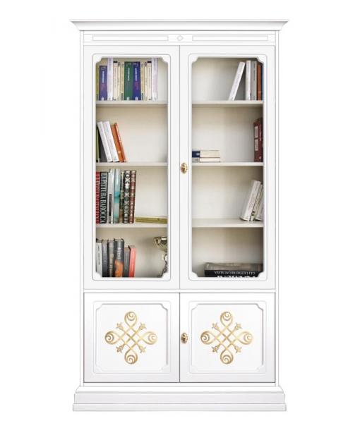 Vitrine bibliothèque portes vitrées et frises - Collection YOU réf. 204-YOU-GOLD