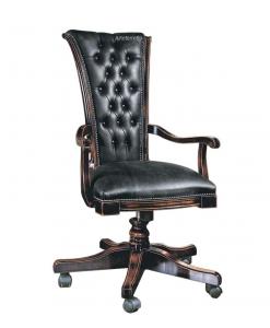 Fauteuil de direction dossier capitonné, fauteuil tournant de bureau, fauteuil avec roulettes, fauteuil cuir noir