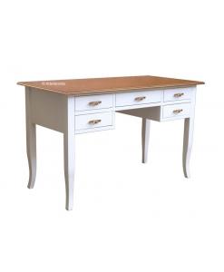 bureau, bureau classique, bureau bicolore, meuble bureau 5 tiroirs