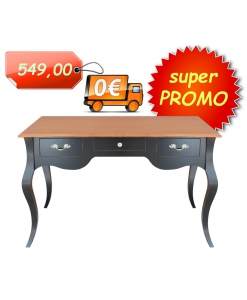 Bureau bicolore largeur 130 cm , bureau bicolore classique 3 tiroirs, bureau noir et merisier, bureau bois massif