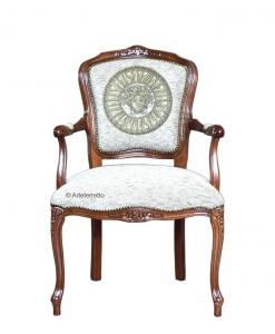 Fauteuil cabriolet, fauteuil classique, fauteuil rembourré pour salon, fauteuil de salon, fauteuil style classique en bois