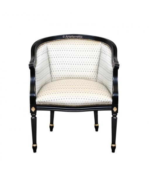 Fauteuil gondole noir, fauteuil gondole, fauteuil classique en bois, fauteuil classique noir