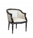 Fauteuil gondole noir, fauteuil type gondole, fauteuil noir, fauteuil gondole classique, fauteuil noir et or, fauteuil classique noir et or