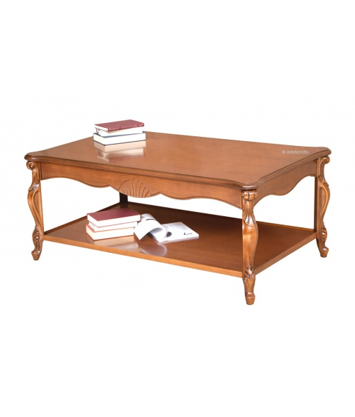 Table basse de salon rectangulaire, table de salon, table basse de salon 130 cm, table rectangulaire pour salon, table basse de salon en bois style classique